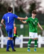 17 October 2019; Kevin Zefi of Republic of Ireland shakes hands with Raivo Sturinš of Latvia following the Under-15 UEFA Development Tournament match between Republic of Ireland and Latvia at Solar 21 Park, Castlebar, Mayo. Photo by Eóin Noonan/Sportsfile *** NO REPRODUCTION FEE ***