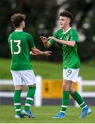 17 October 2019; Adam Nugent of Republic of Ireland, right with team-mate Kevin Zefi following the Under-15 UEFA Development Tournament match between Republic of Ireland and Latvia at Solar 21 Park, Castlebar, Mayo. Photo by Eóin Noonan/Sportsfile *** NO REPRODUCTION FEE ***