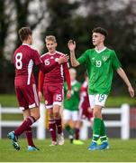 17 October 2019; Adam Nugent of Republic of Ireland shakes hands with Maksims following the Under-15 UEFA Development Tournament match between Republic of Ireland and Latvia at Solar 21 Park, Castlebar, Mayo. Photo by Eóin Noonan/Sportsfile *** NO REPRODUCTION FEE ***