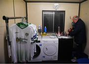 18 October 2019; Joe Walsh, Cabinteely kitman and former Republic of Ireland kitman preparing himself a cup of tea prior to the SSE Airtricity League First Division Promotion / Relegation Play-off Series First Leg match between Cabinteely and Drogheda United at Stradbrook Road in Blackrock, Dublin. Photo by Eóin Noonan/Sportsfile