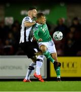 18 October 2019; Beineón O'Brien-Whitmarsh of Cork City in action against Andy Boyle of Dundalk during the SSE Airtricity League Premier Division match between Cork City and Dundalk at Turners Cross in Cork. Photo by Piaras Ó Mídheach/Sportsfile