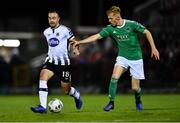 18 October 2019; Robbie Benson of Dundalk in action against Alec Byrne of Cork City during the SSE Airtricity League Premier Division match between Cork City and Dundalk at Turners Cross in Cork. Photo by Piaras Ó Mídheach/Sportsfile