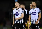 18 October 2019; Dundalk players Seán Hoare, left, and Dane Massey, leave the field dejected after the SSE Airtricity League Premier Division match between Cork City and Dundalk at Turners Cross in Cork. Photo by Piaras Ó Mídheach/Sportsfile