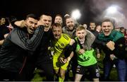 18 October 2019; Bohemians players, from left, Danny Mandroiu, James Talbot and Ross Tierney celebrate with fans following the SSE Airtricity League Premier Division match between St Patrick's Athletic and Bohemians at Richmond Park in Dublin. Photo by Harry Murphy/Sportsfile