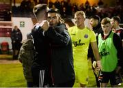 18 October 2019; Daniel Grant and Danny Mandroiu of Bohemians celebrate following the SSE Airtricity League Premier Division match between St Patrick's Athletic and Bohemians at Richmond Park in Dublin. Photo by Harry Murphy/Sportsfile
