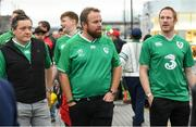 19 October 2019; Golfer Shane Lowry, centre, and his manager Conor Ridge, left, arrive for the 2019 Rugby World Cup Quarter-Final match between New Zealand and Ireland at the Tokyo Stadium in Chofu, Japan. Photo by Ramsey Cardy/Sportsfile