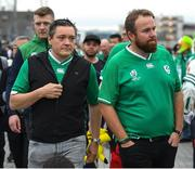 19 October 2019; Golfer Shane Lowry, right, his manager Conor Ridge, and hurler Joe Canning arrive for the 2019 Rugby World Cup Quarter-Final match between New Zealand and Ireland at the Tokyo Stadium in Chofu, Japan. Photo by Ramsey Cardy/Sportsfile
