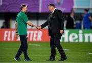 19 October 2019; Ireland head coach Joe Schmidt, left, with New Zealand head coach Steve Hansen before the 2019 Rugby World Cup Quarter-Final match between New Zealand and Ireland at the Tokyo Stadium in Chofu, Japan. Photo by Ramsey Cardy/Sportsfile