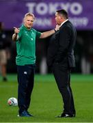 19 October 2019; Ireland head coach Joe Schmidt, left, with, New Zealand head coach Steve Hansen before the 2019 Rugby World Cup Quarter-Final match between New Zealand and Ireland at the Tokyo Stadium in Chofu, Japan. Photo by Ramsey Cardy/Sportsfile