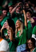 19 October 2019; Joanna Cooper, girlfriend of Ireland rugby player, Conor Murray, before the 2019 Rugby World Cup Quarter-Final match between New Zealand and Ireland at the Tokyo Stadium in Chofu, Japan. Photo by Ramsey Cardy/Sportsfile