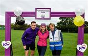 19 October 2019; Vhi ambassador and Olympian David Gillick, centre, with Julie Dowd, Event Director, left, and Joanne Bruen, Run Director, right, ahead of the Porterstown parkrun where Vhi hosted a special event to celebrate their partnership with parkrun Ireland. David was on hand to lead the warm up for parkrun participants before completing the 5km free event. Parkrunners enjoyed refreshments post event at the Vhi Rehydrate, Relax, Refuel and Reward areas. parkrun in partnership with Vhi support local communities in organising free, weekly, timed 5k runs every Saturday at 9.30am. To register for a parkrun near you visit www.parkrun.ie. Photo by Seb Daly/Sportsfile