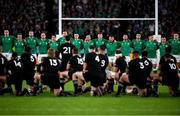 "19 October 2019; Ireland squad as New Zealand perform the ""Haka"" prior to the 2019 Rugby World Cup Quarter-Final match between New Zealand and Ireland at the Tokyo Stadium in Chofu, Japan. Photo by Ramsey Cardy/Sportsfile"