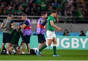 19 October 2019; Garry Ringrose of Ireland, right, leaves the pitch as team-mate Robbie Henshaw is treated for an injuruy during the 2019 Rugby World Cup Quarter-Final match between New Zealand and Ireland at the Tokyo Stadium in Chofu, Japan. Photo by Ramsey Cardy/Sportsfile