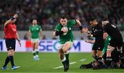19 October 2019; Cian Healy of Ireland races away with a loose ball as referee Nigel Owens whistles for a penalty to New Zealand during the 2019 Rugby World Cup Quarter-Final match between New Zealand and Ireland at the Tokyo Stadium in Chofu, Japan. Photo by Brendan Moran/Sportsfile