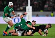 19 October 2019; Beauden Barrett of New Zealand is tackled by Jonathan Sexton of Ireland during the 2019 Rugby World Cup Quarter-Final match between New Zealand and Ireland at the Tokyo Stadium in Chofu, Japan. Photo by Brendan Moran/Sportsfile