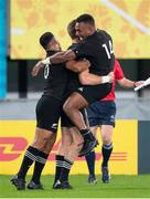 19 October 2019; Beauden Barrett of New Zealand, centre, celebrates with team-mates Richie Mo'ounga, left, and Sevu Reece after scoring his side's third try during the 2019 Rugby World Cup Quarter-Final match between New Zealand and Ireland at the Tokyo Stadium in Chofu, Japan. Photo by Juan Gasparini/Sportsfile