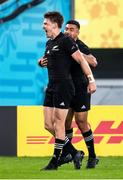 19 October 2019; Beauden Barrett of New Zealand celebrates scoring his side's third try during the 2019 Rugby World Cup Quarter-Final match between New Zealand and Ireland at the Tokyo Stadium in Chofu, Japan. Photo by Juan Gasparini/Sportsfile