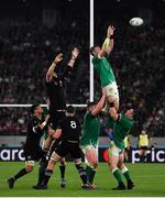 19 October 2019; Peter O'Mahony of Ireland wins possession in a lineout during the 2019 Rugby World Cup Quarter-Final match between New Zealand and Ireland at the Tokyo Stadium in Chofu, Japan. Photo by Brendan Moran/Sportsfile