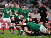 19 October 2019; Kieran Read of New Zealand is tackled by Iain Henderson of Ireland during the 2019 Rugby World Cup Quarter-Final match between New Zealand and Ireland at the Tokyo Stadium in Chofu, Japan. Photo by Brendan Moran/Sportsfile