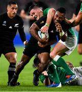 19 October 2019; Sevu Reece of New Zealand is tackled by Jonathan Sexton of Ireland during the 2019 Rugby World Cup Quarter-Final match between New Zealand and Ireland at the Tokyo Stadium in Chofu, Japan. Photo by Ramsey Cardy/Sportsfile