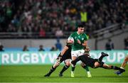 19 October 2019; Conor Murray of Ireland is tackled by Matt Todd, left, with Aaron Smith of New Zealand during the 2019 Rugby World Cup Quarter-Final match between New Zealand and Ireland at the Tokyo Stadium in Chofu, Japan. Photo by Ramsey Cardy/Sportsfile