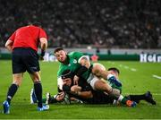 19 October 2019; Matt Todd of New Zealand scores a try, despite the tackle of Andrew Porter of Ireland during the 2019 Rugby World Cup Quarter-Final match between New Zealand and Ireland at the Tokyo Stadium in Chofu, Japan. Photo by Ramsey Cardy/Sportsfile
