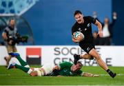 19 October 2019; George Bridge of New Zealand on his way to scoring a try during the 2019 Rugby World Cup Quarter-Final match between New Zealand and Ireland at the Tokyo Stadium in Chofu, Japan. Photo by Ramsey Cardy/Sportsfile