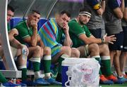 19 October 2019; Ireland players, from left, Peter O'Mahony, Rob Kearney, Cian Healy, and Iain Henderson look on as New Zealand score their sixth try during the 2019 Rugby World Cup Quarter-Final match between New Zealand and Ireland at the Tokyo Stadium in Chofu, Japan. Photo by Brendan Moran/Sportsfile