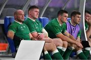 19 October 2019; Ireland players, Rory Best, Tadhg Furlong, Jonathan Sexton, and Luke McGrath during the 2019 Rugby World Cup Quarter-Final match between New Zealand and Ireland at the Tokyo Stadium in Chofu, Japan. Photo by Brendan Moran/Sportsfile