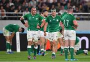 19 October 2019; Ireland players, including Rhys Ruddock, left, and Josh van der Flier, react after New Zealand scored their side's sixth try during the 2019 Rugby World Cup Quarter-Final match between New Zealand and Ireland at the Tokyo Stadium in Chofu, Japan. Photo by Brendan Moran/Sportsfile