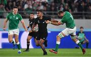 19 October 2019; Sevu Reece of New Zealand breaks away from Tadhg Beirne of Ireland during the 2019 Rugby World Cup Quarter-Final match between New Zealand and Ireland at the Tokyo Stadium in Chofu, Japan. Photo by Brendan Moran/Sportsfile