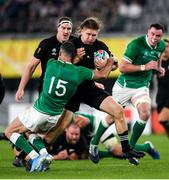 19 October 2019; Jack Goodhue of New Zealand is tackled by Rob Kearney of Ireland during the 2019 Rugby World Cup Quarter-Final match between New Zealand and Ireland at the Tokyo Stadium in Chofu, Japan. Photo by Ramsey Cardy/Sportsfile
