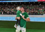 19 October 2019; Peter O'Mahony of Ireland kisses his daughter Indie following the 2019 Rugby World Cup Quarter-Final match between New Zealand and Ireland at the Tokyo Stadium in Chofu, Japan. Photo by Brendan Moran/Sportsfile