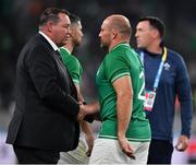 19 October 2019; Ireland captain Rory Best shakes hands with New Zealand head coach Steve Hansen after the 2019 Rugby World Cup Quarter-Final match between New Zealand and Ireland at the Tokyo Stadium in Chofu, Japan. Photo by Brendan Moran/Sportsfile