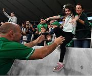 19 October 2019; Rory Best of Ireland with his daughter Penny after the 2019 Rugby World Cup Quarter-Final match between New Zealand and Ireland at the Tokyo Stadium in Chofu, Japan. Photo by Brendan Moran/Sportsfile