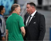 19 October 2019; Ireland head coach Joe Schmidt shakes hands with New Zealand head coach Steve Hansen after the 2019 Rugby World Cup Quarter-Final match between New Zealand and Ireland at the Tokyo Stadium in Chofu, Japan. Photo by Brendan Moran/Sportsfile