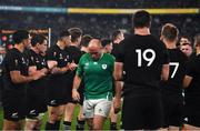 19 October 2019; New Zealand players applaud Rory Best of Ireland and his team-mates after the 2019 Rugby World Cup Quarter-Final match between New Zealand and Ireland at the Tokyo Stadium in Chofu, Japan. Photo by Brendan Moran/Sportsfile
