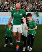 19 October 2019; Rory Best of Ireland with his children Richie, Penny and Ben after the 2019 Rugby World Cup Quarter-Final match between New Zealand and Ireland at the Tokyo Stadium in Chofu, Japan. Photo by Brendan Moran/Sportsfile