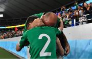 19 October 2019; Rory Best of Ireland hugs his son Ben after the 2019 Rugby World Cup Quarter-Final match between New Zealand and Ireland at the Tokyo Stadium in Chofu, Japan. Photo by Brendan Moran/Sportsfile
