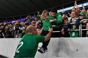 19 October 2019; Rory Best of Ireland with his son Richie during the 2019 Rugby World Cup Quarter-Final match between New Zealand and Ireland at the Tokyo Stadium in Chofu, Japan. Photo by Brendan Moran/Sportsfile
