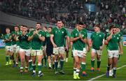 19 October 2019; A dejected Ireland team applaud their fans after the 2019 Rugby World Cup Quarter-Final match between New Zealand and Ireland at the Tokyo Stadium in Chofu, Japan. Photo by Brendan Moran/Sportsfile