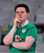 19 October 2019; A dejected Ireland supporter after the 2019 Rugby World Cup Quarter-Final match between New Zealand and Ireland at the Tokyo Stadium in Chofu, Japan. Photo by Brendan Moran/Sportsfile