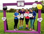 19 October 2019; Vhi ambassador and Olympian David Gillick with participants Claire Durr, Judith Walsh and Niamh Sheridan, pictured at the Porterstown parkrun where Vhi hosted a special event to celebrate their partnership with parkrun Ireland. Vhi ambassador and Olympian David Gillick was on hand to lead the warm up for parkrun participants before completing the 5km free event. Parkrunners enjoyed refreshments post event at the Vhi Rehydrate, Relax, Refuel and Reward areas. parkrun in partnership with Vhi support local communities in organising free, weekly, timed 5k runs every Saturday at 9.30am. To register for a parkrun near you visit www.parkrun.ie. Photo by Seb Daly/Sportsfile