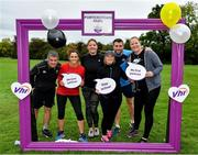19 October 2019; Participants are pictured at the Porterstown parkrun where Vhi hosted a special event to celebrate their partnership with parkrun Ireland. Vhi ambassador and Olympian David Gillick was on hand to lead the warm up for parkrun participants before completing the 5km free event. Parkrunners enjoyed refreshments post event at the Vhi Rehydrate, Relax, Refuel and Reward areas. parkrun in partnership with Vhi support local communities in organising free, weekly, timed 5k runs every Saturday at 9.30am. To register for a parkrun near you visit www.parkrun.ie. Photo by Seb Daly/Sportsfile
