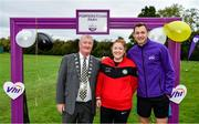 19 October 2019; Vhi ambassador and Olympian David Gillick, Deputy Mayor of Fingal Cllr Tom Kitt, and Siobhan O'Brien, Operation Transformation Leader, RTE, are pictured at the Porterstown parkrun where Vhi hosted a special event to celebrate their partnership with parkrun Ireland. Vhi ambassador and Olympian David Gillick was on hand to lead the warm up for parkrun participants before completing the 5km free event. Parkrunners enjoyed refreshments post event at the Vhi Rehydrate, Relax, Refuel and Reward areas. parkrun in partnership with Vhi support local communities in organising free, weekly, timed 5k runs every Saturday at 9.30am. To register for a parkrun near you visit www.parkrun.ie. Photo by Seb Daly/Sportsfile