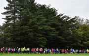19 October 2019; Participants are pictured at the start of the Porterstown parkrun where Vhi hosted a special event to celebrate their partnership with parkrun Ireland. Vhi ambassador and Olympian David Gillick was on hand to lead the warm up for parkrun participants before completing the 5km free event. Parkrunners enjoyed refreshments post event at the Vhi Rehydrate, Relax, Refuel and Reward areas. parkrun in partnership with Vhi support local communities in organising free, weekly, timed 5k runs every Saturday at 9.30am. To register for a parkrun near you visit www.parkrun.ie. Photo by Seb Daly/Sportsfile