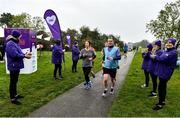 19 October 2019; Participants are cheered on my Vhi Staff at the Porterstown parkrun where Vhi hosted a special event to celebrate their partnership with parkrun Ireland. Vhi ambassador and Olympian David Gillick was on hand to lead the warm up for parkrun participants before completing the 5km free event. Parkrunners enjoyed refreshments post event at the Vhi Rehydrate, Relax, Refuel and Reward areas. parkrun in partnership with Vhi support local communities in organising free, weekly, timed 5k runs every Saturday at 9.30am. To register for a parkrun near you visit www.parkrun.ie. Photo by Seb Daly/Sportsfile