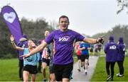 19 October 2019; Vhi ambassador and Olympian David Gillick pictured at the Porterstown parkrun where Vhi hosted a special event to celebrate their partnership with parkrun Ireland. David was on hand to lead the warm up for parkrun participants before completing the 5km free event. Parkrunners enjoyed refreshments post event at the Vhi Rehydrate, Relax, Refuel and Reward areas. parkrun in partnership with Vhi support local communities in organising free, weekly, timed 5k runs every Saturday at 9.30am. To register for a parkrun near you visit www.parkrun.ie. Photo by Seb Daly/Sportsfile