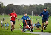 19 October 2019; Participants during the Porterstown parkrun where Vhi hosted a special event to celebrate their partnership with parkrun Ireland. Vhi ambassador and Olympian David Gillick was on hand to lead the warm up for parkrun participants before completing the 5km free event. Parkrunners enjoyed refreshments post event at the Vhi Rehydrate, Relax, Refuel and Reward areas. parkrun in partnership with Vhi support local communities in organising free, weekly, timed 5k runs every Saturday at 9.30am. To register for a parkrun near you visit www.parkrun.ie. Photo by Seb Daly/Sportsfile