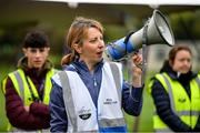 19 October 2019; Joanne Bruen, Run Director, pictured as she speaks to participants at the Porterstown parkrun where Vhi hosted a special event to celebrate their partnership with parkrun Ireland. Vhi ambassador and Olympian David Gillick was on hand to lead the warm up for parkrun participants before completing the 5km free event. Parkrunners enjoyed refreshments post event at the Vhi Rehydrate, Relax, Refuel and Reward areas. parkrun in partnership with Vhi support local communities in organising free, weekly, timed 5k runs every Saturday at 9.30am. To register for a parkrun near you visit www.parkrun.ie. Photo by Seb Daly/Sportsfile
